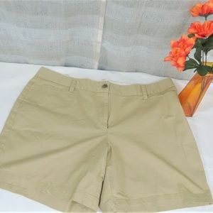 Khaki Chino Flat Front Shorts By Lands End